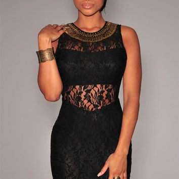 Sleeveless Black Mini Dress with Lace Bronze Embellished