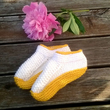 Knitted Slippers/ Hand Knit Warm Slippers/ Womens Slippers Socks/ Wool Slippers/ Teen Slippers/ Yellow White Slippers