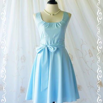 My Lady - Cute Baby Blue Sundress Vintage Design Party Tea Dress Blue Bridesmaid Dress Spring Summer Dresses Garden Party Dress XS-XL