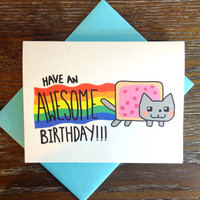 Nyan Cat Kawaii Birthday Card
