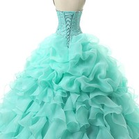 Mint Green Debut Ball Gowns Beading Ball Gown Floor Length Lace Up Back Quinceanera Dresses Fashionv