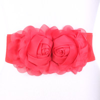 Red Floral Accents Cute Elastic-band Belt