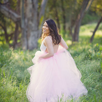 Pink Full length tulle skirt with lining , maternity skirt, photo prop, adult tulle skirt,  Wedding skirt, bridal skirt
