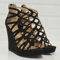 Race To The Finish Black Strappy Caged Wedges