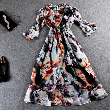 Women Faces Printed Lace Collar Flounce Sleeve Mesh Midi Dress
