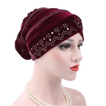 Women Muslim Stretch Turban Hat Velvet Hair Loss Head Scarf Wrap Adjustable Floral Rhinestones Beanie balaclava