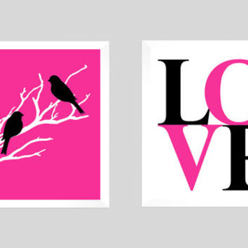 Modern Home Decor, Love Birds Wedding Tree, Girl Room Art, Anniversary, Custom Wedding Gift, Modern Print, LOVE Birds, CUSTOMIZE your COLORS