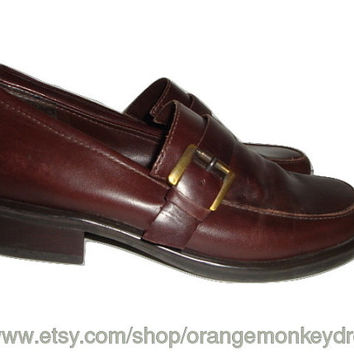 vintage FRANCO SARTO Brown  leather shoes preppy hipster loafer side buckle women size 7 1/2