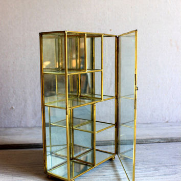 Glass Brass Mirror Curio Display : vintage