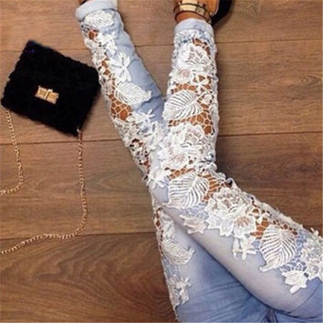 Fashion Lace Hollow Pants Trousers Jeans