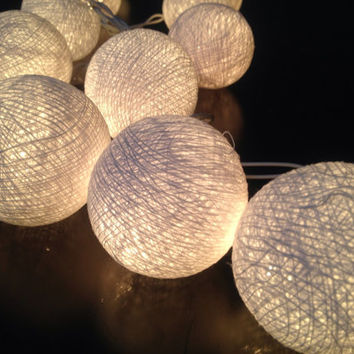 Cotton Ball String Lights For Home Decor Party Wedding Patio 20 Pieces