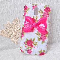 rose flower hard Cell phone case for Samsung Galaxy S2 T989 Hercules Protective cover handmade with hot pink resin bow
