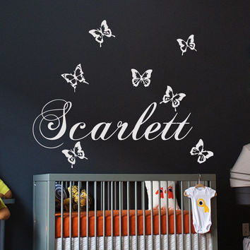 Name Wall Decals Vinyl Stickers Butterfly Decal Girl Nursery Bedroom Art LM83