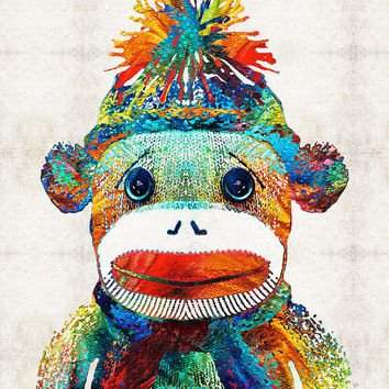 Sock Monkey Art Colorful PRINT from Painting Rainbow Toy Kids Adult Fun Funny Cute Play CANVAS Ready To Hang Large Vintage Funny Love Animal