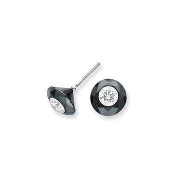 14K White Gold 6.50ct. Black and White Diamond Stud Earrings (H/I1 Quality) Quality