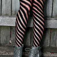 Chocolate Brown, Khaki, Tan, Black, White, Red Hand Dyed Diagonal Striped Nylon Stockings Tights