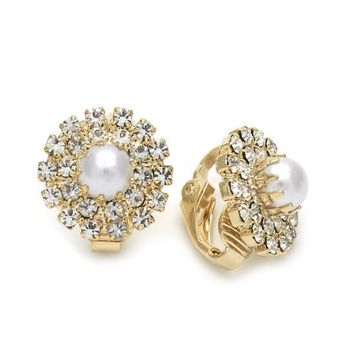 Gold Layered 02.09.0152 Leverback Earring, Flower Design, with Ivory Mother of Pearl and White Cubic Zirconia, Polished Finish, Golden Tone