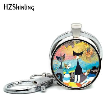 1 pc Silver Tone  Glass Dome Handmade Cat Family Keychain  17 Designs