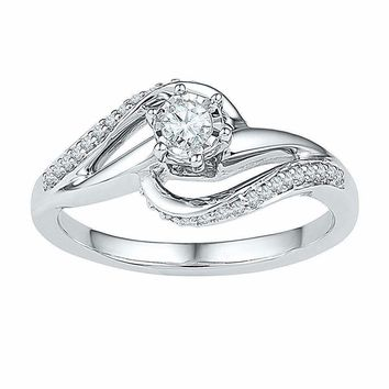 10kt White Gold Women's Round Diamond Solitaire Swirl Bridal Wedding Engagement Ring 1/5 Cttw - FREE Shipping (US/CAN)