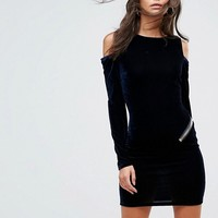 ASOS TALL Velvet Open Zip Back Bodycon Mini Dress at asos.com