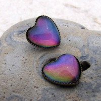 Heart Earrings - Rainbow Mirage Post Earrings - Antiqued Brass Posts - Blue Purple Green