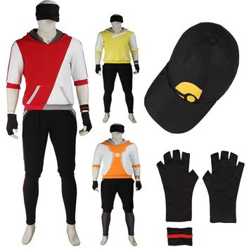 HOT Anime Pocket Game  Trainer Avatar Uniform Cosplay Costume with Gloves and Hat CustomizeKawaii Pokemon go  AT_89_9