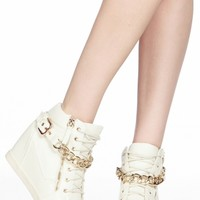 White Faux Leather Chain Accent Sneaker Wedges @ Cicihot Women Sneakers-Fashion Sneakers,Casual Sneakers,Wedge Sneakers,Platform Sneakers,Hidden Wedge Sneakers,High Top Sneakers,Lace Up Sneakers,Studded Sneakers,Buckle Sneakers