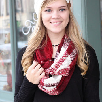 Wide Plaid Infinity Scarf {Red/White}