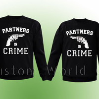 "Couple Sweatshirt Crewneck Disney "" Partners in Crime "" - 2 Couple Matching Sweatshirts Love - PRIORITY SHIPPING"