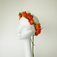 Orange Flower Crown, Fall Festive Flower Crown, Fall Headband, Green Orange Flower Crown