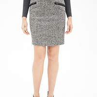 LOVE 21 Zippered Tweed Pencil Skirt White/Black
