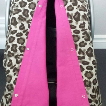 Infant car seat cover, Infant car seat canopy, Baby car seat canopy, Baby car seat cover, Carrier Cover, Infant Carrier, Cheetah, hot pink