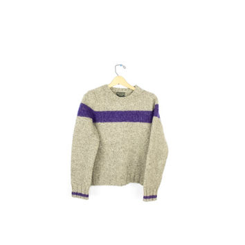 heavy weight wool knit ski sweater / abercrombie knitted thick wool pullover sweater /  purple ivory tan / womens size small s - xs