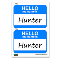 Hunter Hello My Name Is - Sheet of 2 Stickers