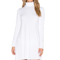 Michael Lauren Leo Turtleneck Mini Dress in White