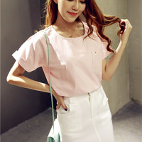 Pink Batwing Short Blouse and White Skirt