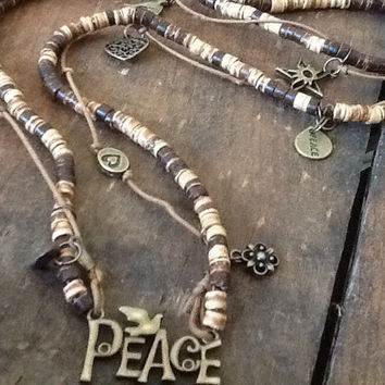 Peace Necklace Hippie Necklace Long Necklace Women's necklace wood Heishi beads Flower Child Jewelry