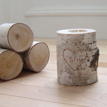 personalized natural white birch wood candle holder - carved heart & initials
