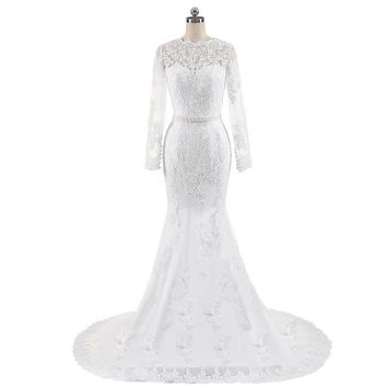 New Design Mermaid Appliques Lace Wedding Dresses Beaded Sash Backless Sexy Vintage Wedding Gowns