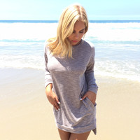Snuggle Up Sweater Dress In Mocha