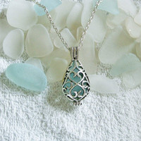 Beach glass locket necklace. Aqua teardrop locket. Beach glass jewelry.