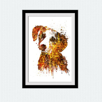 Jack Russell Terrier colorful poster Dog watercolor print Animal wall decor Home decoration Kid room decor Wall hanging Birthday gift W462