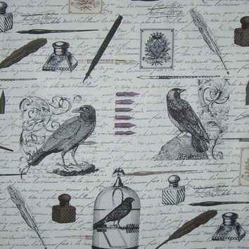 Black on Ivory Nevermore Print Pure Cotton Fabric from Michael Miller--One Yard