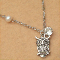 Owl and Pearl Crystal Necklace by turquoisecity on Etsy