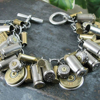 Shotgun and Bullet Casing Jewelry - Mixed Nickel & Brass Bullet and Shotgun Casing Loaded Charm Bracelet