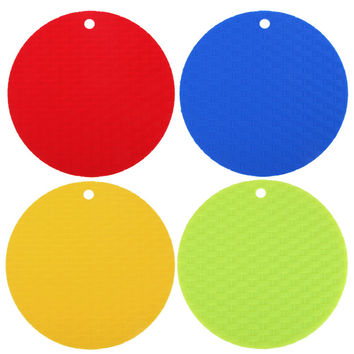 Silicone Round Non-Slip Heat Resistant Mat Coaster Cushion Placemat Pot Holder Table Decor Kitchen Accessories