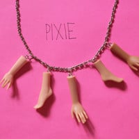 Barbie hands and feet necklace - Dismembered Doll