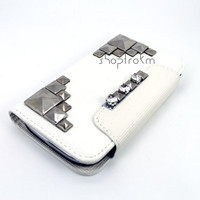Metal Studded Vegan Leather Galaxy S3 III Wallet Case Off White Chrome Silver Studs Rhinestone Flap