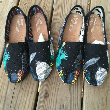 Washington DC and NYC Skyline Custom Toms Shoes