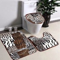 3pcs Animal Grain Bathroom Non-slip Carpet Toilet Seat Mat Rug Lid Toilet Cover